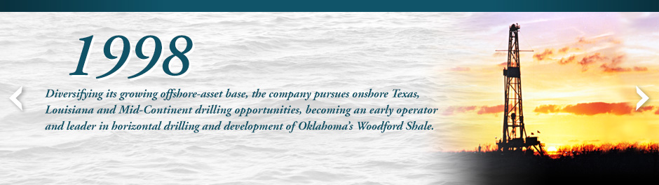 Diversifying its growing offshore-asset base, Walter Oil & Gas pursues onshore Texas, Louisiana and Mid-Continent drilling opportunities, becoming an early operator and leader in horizontal drilling and development of Oklahoma's Woodford Shale.